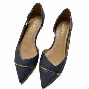 ALDO Blue Leather Kedeassi D'Orsay Flats (Sz 8.5)